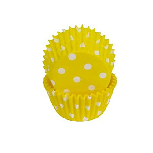 Yellow White Polka Dot Baking Liners Cupcake Liners Cups 50 count -