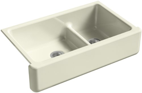 KOHLER K-6427-FD Whitehaven Smart Divide Self-Trimming Under-Mount Apron-Front Double-Bowl Kitchen Sink with Tall Apron, 35-1/2-Inch X 21-9/16-Inch X 9-5/8-Inch, Cane Sugar
