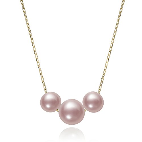 14k Yellow Gold Graduated Trio Pink Cultured Freshwater Pearl Chain Necklace, 18