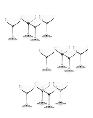 Godinger Meridian Champagne Coupe Glasses - Set of 12 Perfect For Champagne Towers