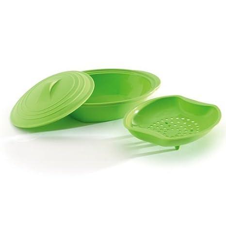 Norpro Jumbo - Vaporera de silicona con inserto, color verde ...