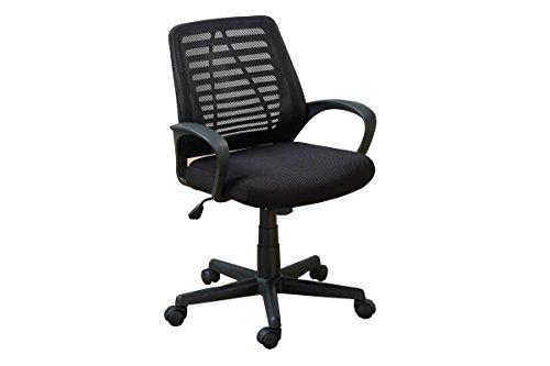 "Poundex Mesh Back Gaslift Office Chair, 39.5"", Black"
