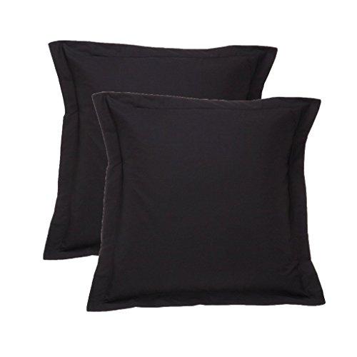 European Black Pillow Shams Set of 2 - Luxury 400 Thread Count 100% Egyptian Cotton Cushion Cover Euro Size Decorative Pillow Cover Tailored Poplin European Pillow Sham (2 Pack, Euro 22'' x 22'')