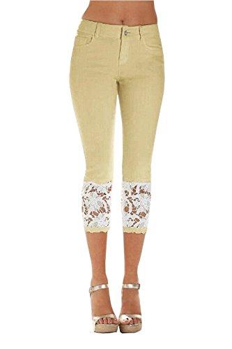 Meilidress Womens Skinny Stretch Lace Trim Capri Jeans Denim Jeggings Pants Khaki