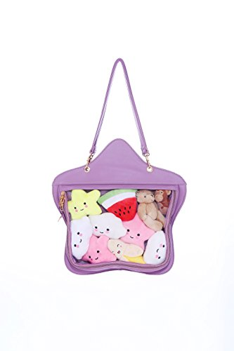 Crossbody Bag Ita Purple Kawaii Handbag Purse Transparent Candy Lolita Backpacks Clear Star Leather Bags 4qRw8nO7