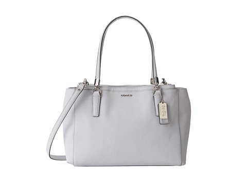 Coach Womens Madison Christie Leather Double Entry Satchel Handbag Silver Medium (Madison Handbag Coach)