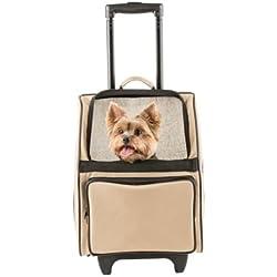 Petote Rio Bag Carrier On Wheels for 15 lb Dog (Khaki)