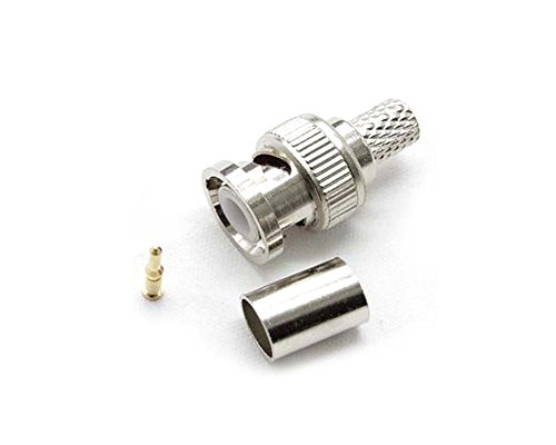 Gevilion 20Sets BNC Male 3-Piece Crimp Connector Plugs RG59 for CCTV Surveillance Camera Bnc Rg59 Crimp Connector