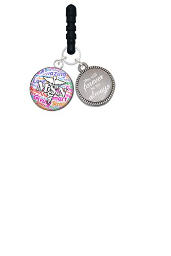 Domed Multi Color Msn Forever Be My Always Phone Charm