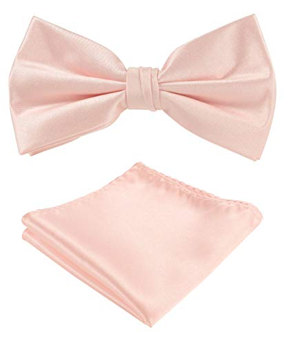 Bow Tie Set: One Set: Solid Color Bow Tie, Pocket Square,Satin Micro Fiber Silky Touch,Gift Box (Blush)