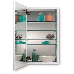 Jensen 52WH344DPF Metro Deluxe Medicine Cabinet With Polished Mirror, 15  Inch By 35