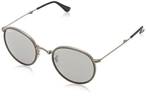 Ray-Ban-ROUND-MATTE-GUNMETAL-Frame-POLAR-GREY-MIRROR-Lenses-51mm-Polarized