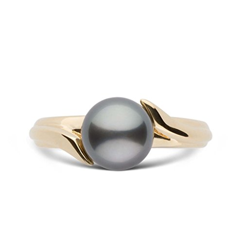 Ribbon Collection Tahitian Cultured Pearl Ring - 14K Yellow Gold - Ring Size 7