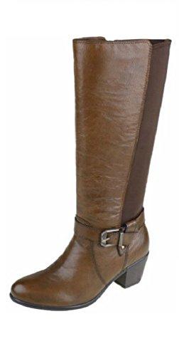 Leather Black Winter Almond Spirit Genuine Ladies Tall Boots Tan Womens Tulsa Earth Tan Almond Riding Elastic 8F7TUq5