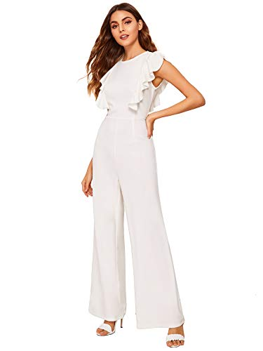 Romwe Women's Sexy Casual Sleeveless Ruffle Trim Wide Leg High Waist Long Jumpsuit (X-Small = US 2, White)