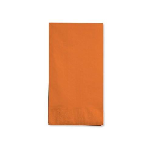 Creative Converting 16-Count Touch of Color 3-Ply Paper Guest Napkins, Sunkissed Orange - 95191