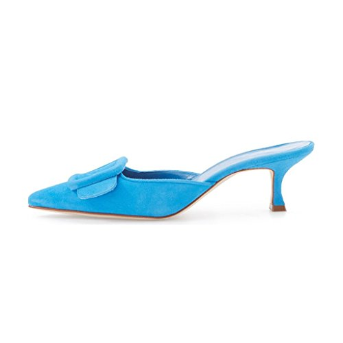 XYD Women Mule Pointy Toe Sandals Suede Slip on Low Kitten Heel Buckle Slide Shoes Blue sneakernews sale online discount limited edition 45q7WdZ