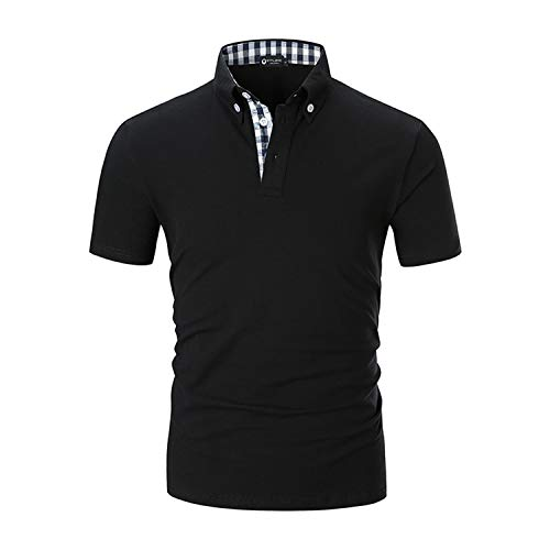STTLZMC Men's Short Sleeve Polo Shirts Casual Fit Golf Solid Color Tops,Black,Large by STTLZMC