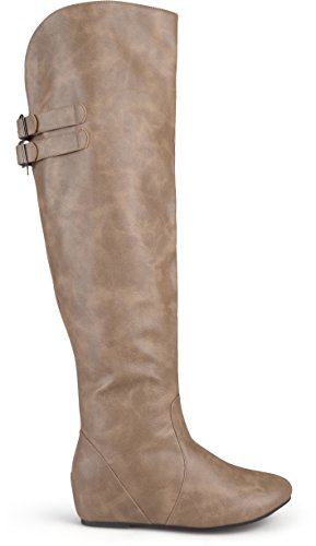 Brinley Co Women's Wing Over The Knee Boot, Tan, 8 Wide/Wide Shaft US by Brinley Co