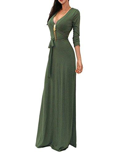 Mujeres Manga 3/4 Maxi Vestido Sólido Vestido De Cintura Larga Verde