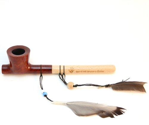 Indian Spirit Peace Pipe - The Sacred Lakota Pipe - Briar Wood Bowl - Handmade