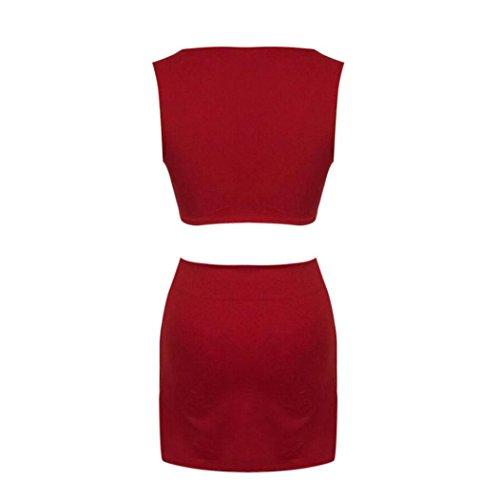 Tops mujer,❤️Ba Zha Hei Falda chaleco corto para mujer de dos piezas tops para mujer atractivos y pantalones largos de dos piezas del club del dividio ...