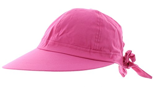 JFH Women's Classic Quintessential Sun Wide Visor Hat in Sold Bold Colors (Hot Pink) Best Grandma Womens Cap