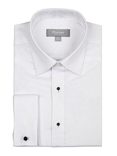 Marquis Men's White Textured Cotton Slim Fit Tuxedo Shirt, Neck 16.5, Sleeve ()
