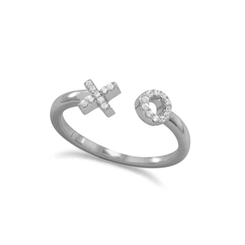 XO Ring with Cubic Zirconia Rhodium-plated Sterling Silver (Hug And Kisses Tic Tac Toe)