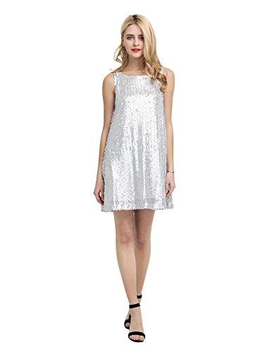 HAOYIHUI Womens Sexy Sparkly Sequin Sleeveless Scoop Neck Midi Club Shift Dress(M,Silver)
