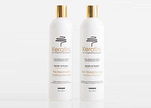 Gold Keratin Protein Hair Straightening One-Day Treatment Duo 16oz / 500ml plus FREE Gold Keratin Protein Activator Treatment 8oz / 237ml