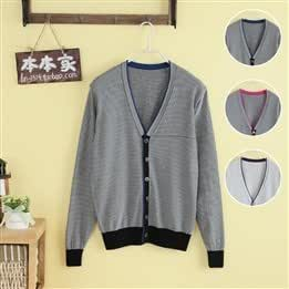 2013 women new books home casual V-neck striped sweater cardigan loose wild sweater XL