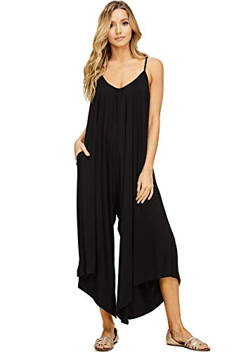 Annabelle Women's Spaghetti Strap Deep V-Neck Loose Wide Leg Maxi Jumpsuit with Pockets Black Large - Drapes Rebecca