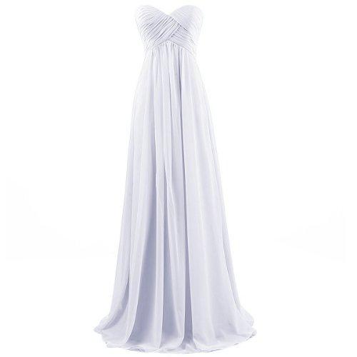 Ouman Sweetheart Bridesmaid Chiffon Prom Dress Long Evening Gown White 2XL