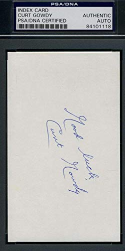 CURT GOWDY COA Autograph 3X5 Index Card Signed Authentic PSA/DNA Certified MLB Cut Signatures