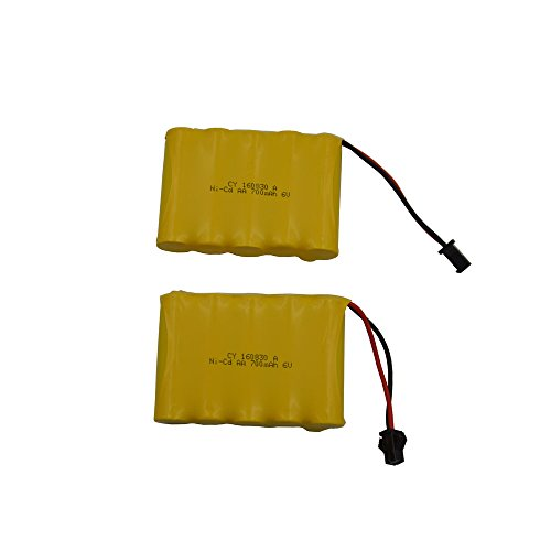 Blomiky 2 Pack 6.0V 700mAh Ni-cd Rechargeable AA Battery Pack SM 2P Plug for Amphibious Stunt RC Cars & 11 Channel 510 RC Excavator Blexy 1/18 ZCToys X-Knight GS06 GS02 GS07 RC Car 6V 700mAh Yellow 2