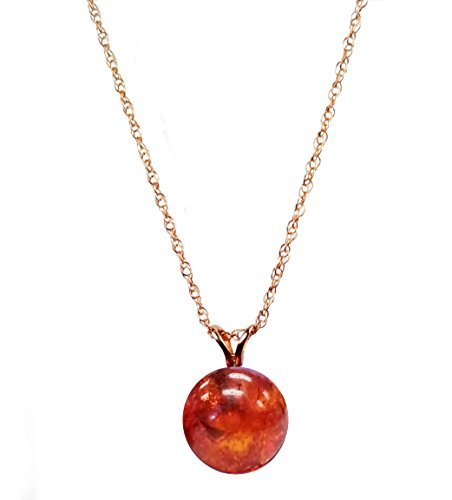 Regalia Jewels by Ulti 14K Yellow Gold 10mm Genuine Amber Round Pendant 18 inch chain