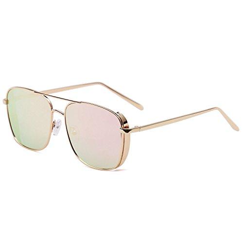 Puntes Gafas Rectagular SJ1088 Espejo Rosado Mujer Unisex 1088c3 SojoS SJ1089 Lente Doble Sol Marco Hombre Metal De Gafas Dorado 8xpwRqd