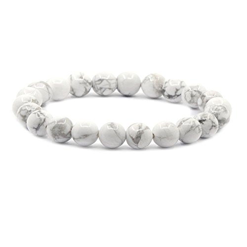 Natural White Howlite Gemstone 8mm Round Beads Stretch Bracelet 7