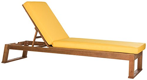 Safavieh Outdoor Collection Solano Teak Brown and Yellow Sun lounger