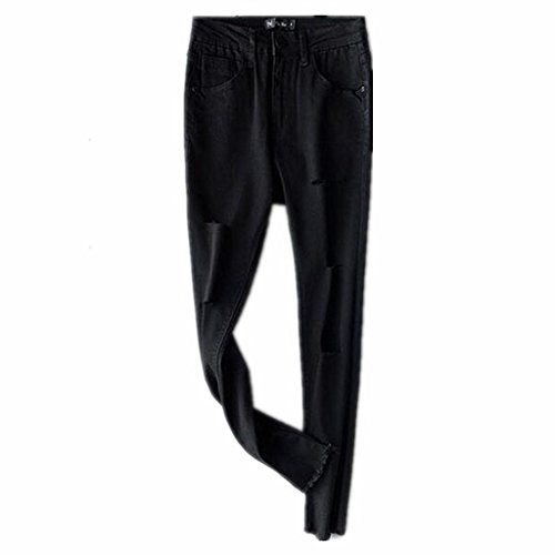 Wgwioo Jeans Slim Pocket Classic Color Sólido De Las Mujeres Cremallera Casual Botón Largo Destruido Relajada Fit Negro Pantalones De Pierna Recta