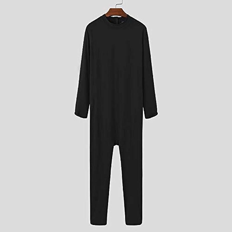 Męskie Overall Pyjama Langarm O-Ausschnitt Homewear Freizeit Nachtwäsche Weiche Fitness Einfarbig Męskie Strampler Nachtwäsche: Sport & Freizeit