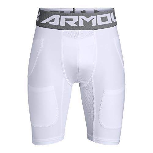 Under Armour Boys' Football 6 Pocket Girdle, White//Graphite, Youth Medium (Pocket Youth Pant 6)