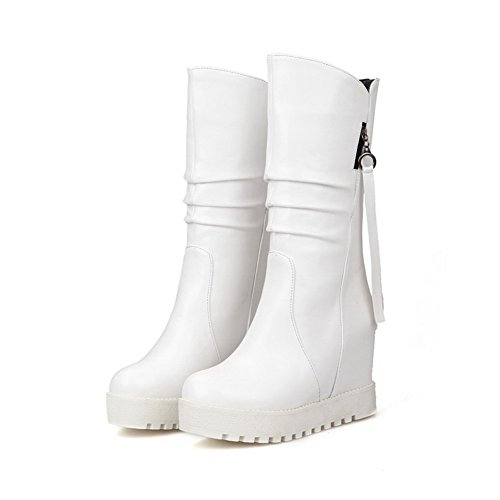 AgooLar Women's Round Closed Toe Blend Materials Boots White wjVihSOUgY