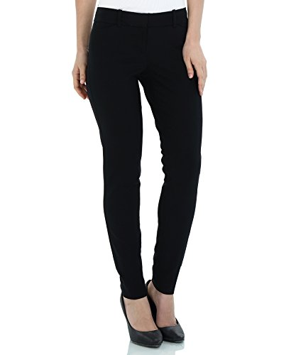 SATINATO Women's Stretch Pants Slim Fit Trousers Black by SATINATO