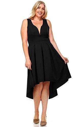 Zoozie LA Women's Plus Size Pleated Midi Cocktail Dress with Empire Waist Black 1X