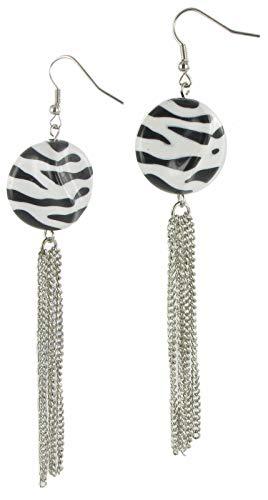 - Pierced Earrings Dangle Zebra Stripe Animal Print Tassel Shoulder Duster 4 1/2