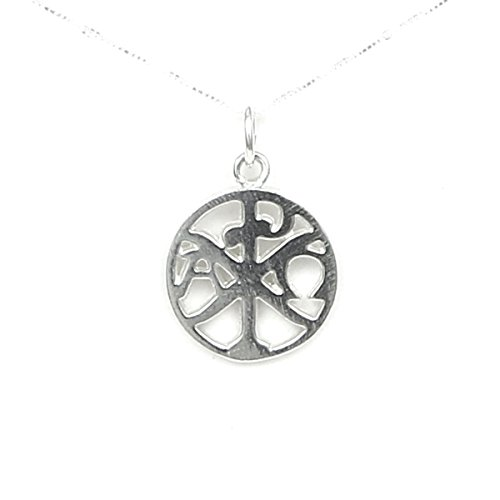 (Christogram Chi Rho - Ancient Christian Symbol Crossed Greek Letters - Sterling Silver Cross -Story Card - 18