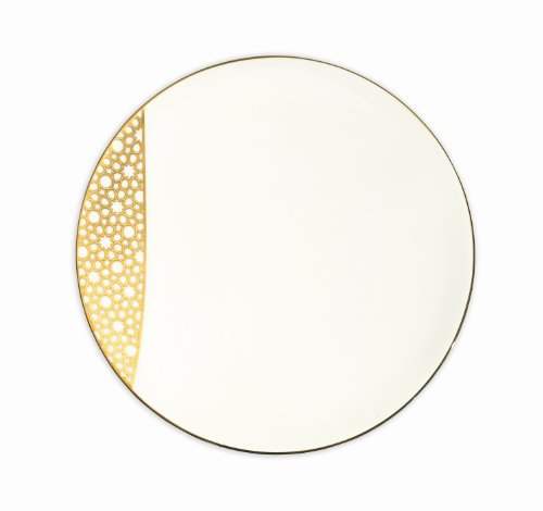 Gold Plated China Porcelain Plate, Merdinger China Porcelain Bread and Butter Platel With 18K Gold Arabesque Design, Stylish China Plate With Gold Decorations, Fine Bone China Plate For Elegant Formal Events
