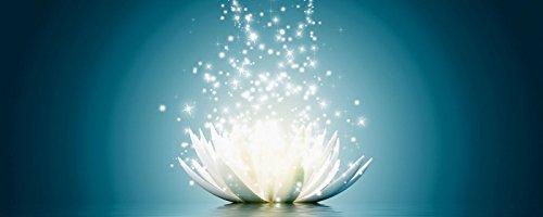 Artland Qualitätsbilder I Glasbilder Deko Bilder Vadim Georgiev Magie der Lotus-Blume türkis Botanik Blumen Seerose Digitale Kunst Blau 50 x 125 x 1,1 cm A7KR